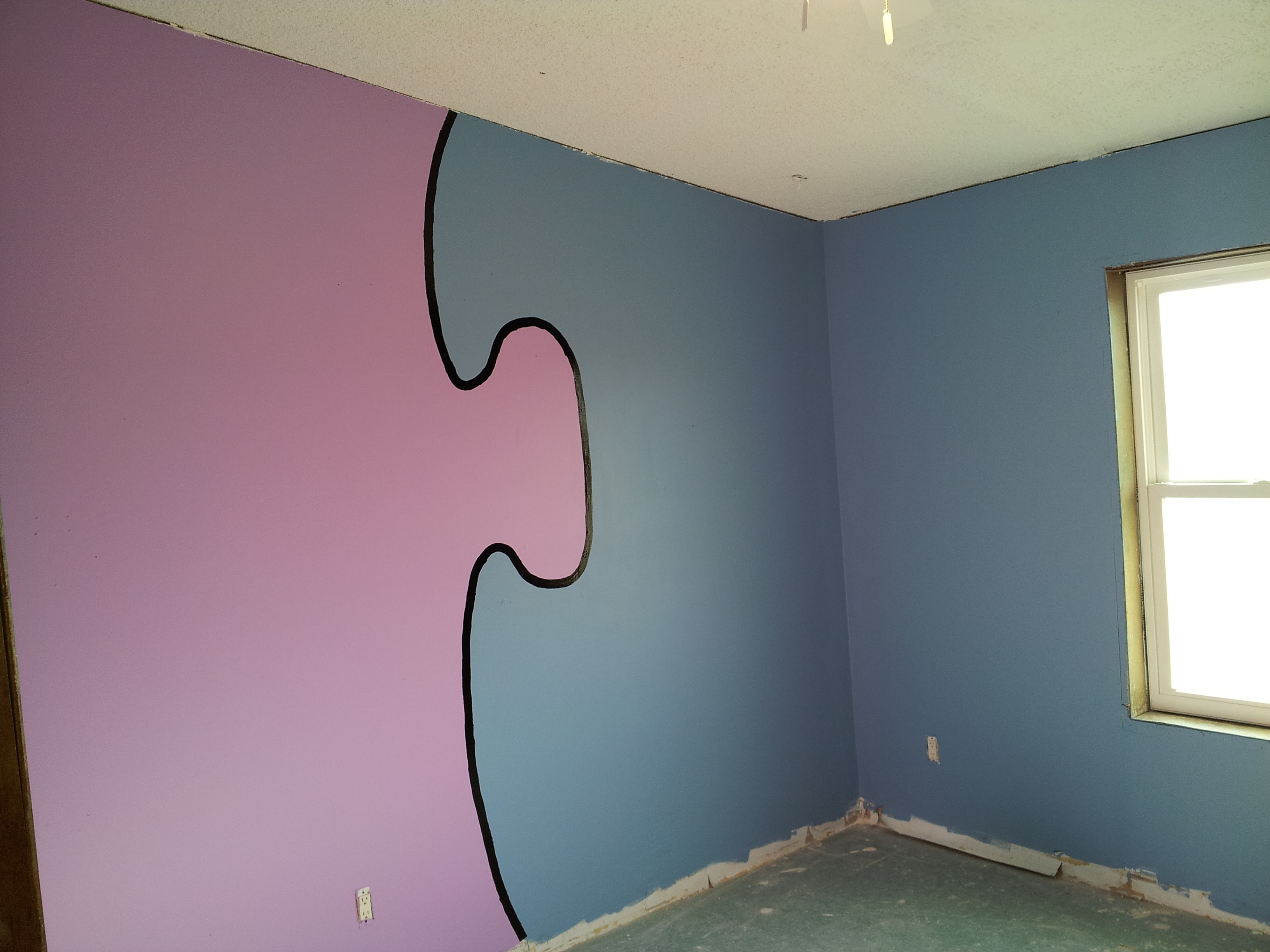 Two Different Colored Walls Bedroom